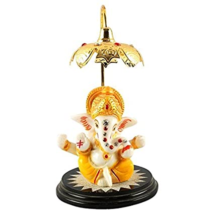 Aica Gifts Microfibre Lord Ganesha Idol Car Dashboard Hindu Figurine Showpiece Multicolour