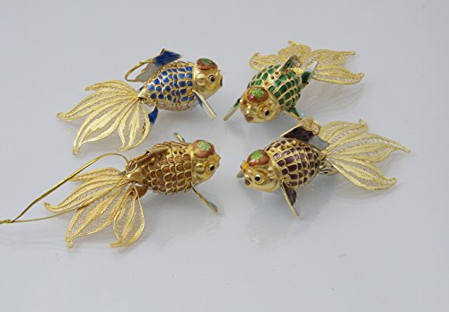 Value Arts Christmas Ornaments, 4 Piece Set Handmade Cloisonne Articulate Filigree Tail Gold Fish Ornament