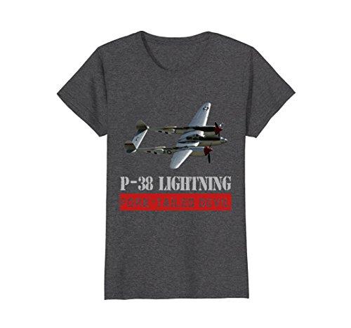 Womens P-38 Lightning War bird, The fork tailed Devil t-shirt XL Dark Heather - Devil Womens Dark T-shirt