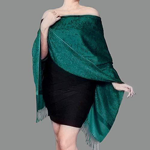 Teal Wrap Green Wedding Shawl Jacquard Poncho Top By ZiiCi