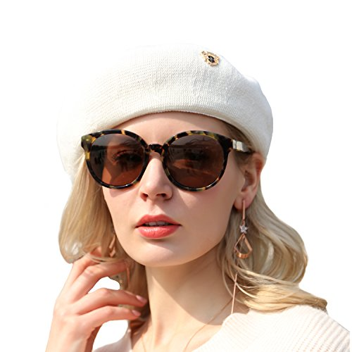 White French Hat - FARSEER Beret Hat Solid Color Classic French Style Beret Cap White