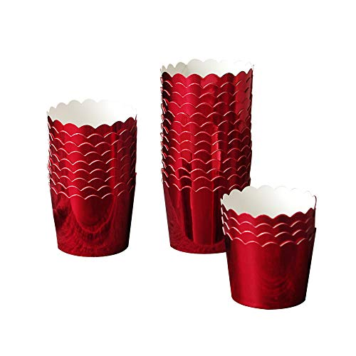 (50 Pcs Paper Cupcake Liners Baking Cups, Holiday/Parties/Wedding/Anniversary(Red))