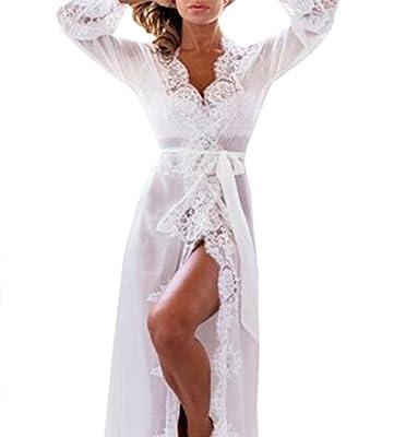 Women Lingerie Lace Flower Split Slit Maxi Nightgown Long Sleeping Dress