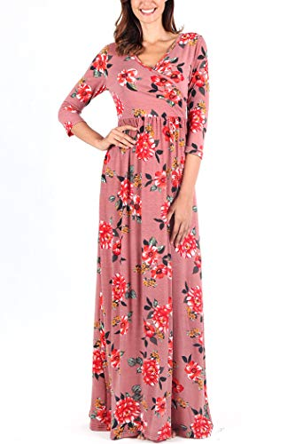 (Comila Floral Maxi Wrap Dress, Women Fashion Stylish Wrap V Neck Jersey Dress Petite Floral Maxi Maternity Pockets Long Dress Flattering Dress Light Red M (US 8-10))