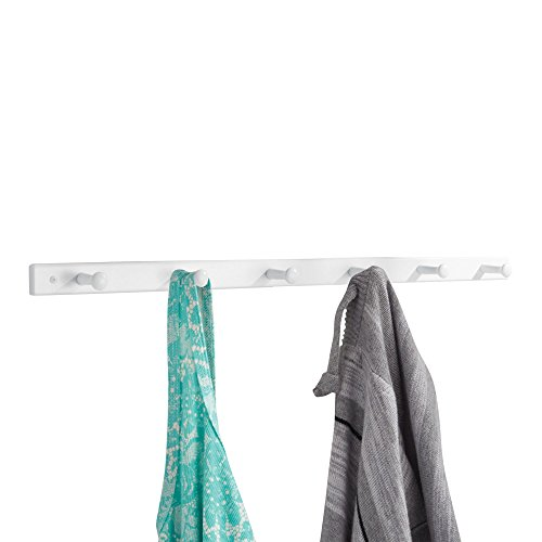 (iDesign Wooden Wall Mount 6-Peg Coat Rack for Hanging Jackets, Leashes, Purses, Hats, Scarves, Bags in Mudroom, Kitchen, Office, 32.5