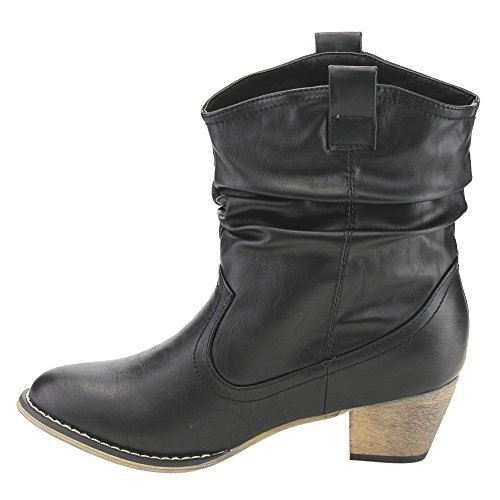 Women's Heel Pull Block On Slouchy Black Cowgirl Refresh AD43 Booties Western Ankle wa5Cx7q