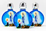 DIRECT FROM LOURDES Lourdes Holy Water, 3 Blue Glass Oval Bottles, Lourdes Water has been Blessed in Lourdes by a Priest, Lourdes Prayer Card