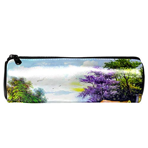 - Anmarco Peaceful Log Cabin Deer Flying Bird Oil Painting Leather Pen Pencil Case Coin Purse Pouch Cosmetic Makeup Bag for School Work Office