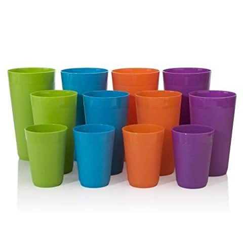 12pc Newport Unbreakable Plastic Cup Tumblers in 4 Assorted Colors four 1... New ,colored plastic measuring cup , colored hefty plastic cups