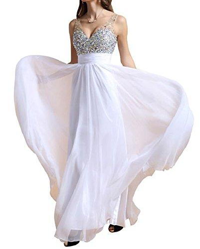 Femme Taille Haute Paillettes Dos Nu Sans Manches Demoiselle D'Honneur Cocktail Soire Fte Longues Robe Blanc