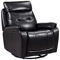 Living Room Metro Furniture Leather Glider and Swivel Power Recliner with USB Port in Black