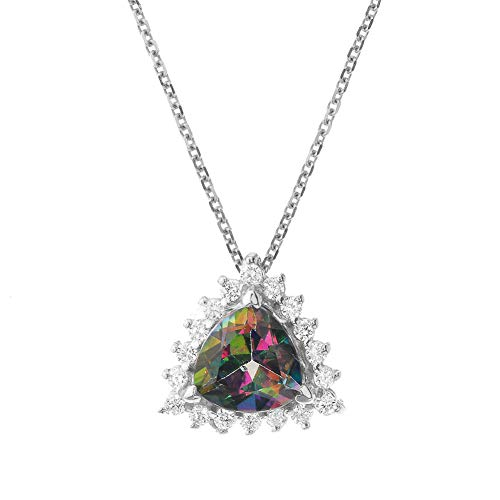 Exquisite 14k White Gold Diamond and Trillion Cut Mystic Topaz Pendant Necklace, ()