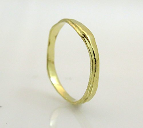 Handmade stacking ring 14K Gold Men women couples wedding band set Faceted simple rough classic thin Size (4,5,6,7,8,9)