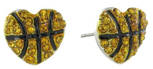 I Love Basketball Rhinestone Stud Earrings - Mini Heart Shaped Basketball