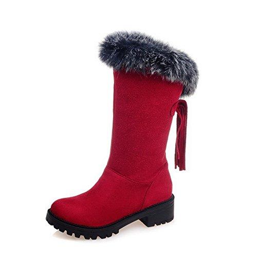 AllhqFashion Damen Niedriger Absatz Mattglasbirne Fransig Ziehen auf Rund Zehe Stiefel, Rot, 42