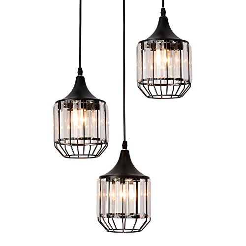 Creatgeek 3 Lights Crystal Pendant Light Fixture, Elegant Traditional Chandelier for Dining Room, Living Room (Light Covered 3 Chandelier)