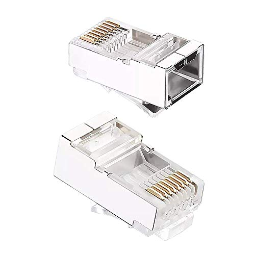Shielded Cat6 RJ45 Connectors - iGreely 50-Pack Gold Plated RJ45 Cat6/Cat5E/Cat5 8P8C 50 Micron 50u 3 Prong FTP STP Ethernet Cable Crimp Modular Plug