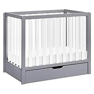 Carter's by DaVinci Colby 4-in-1 Convertible Mini Crib with Trundle in Grey/White, Greenguard Gold Certified