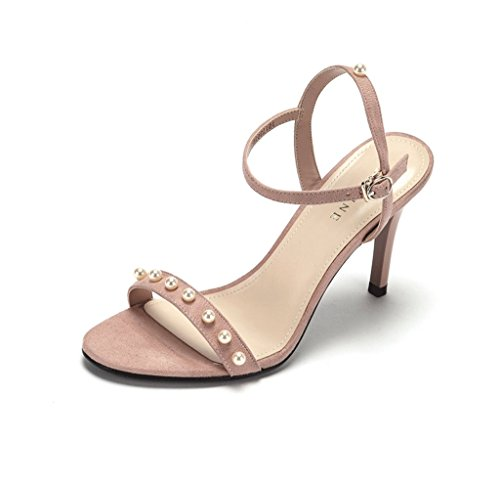 Fashion Banquet Fine High Heels Sexy Flow Beads Decorated Women Sandals Shoes (Color : Pink, Size : 38)