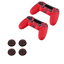 Insten [2 Pcs] Pythons Anti-slip Silicone Case Skin Protector Cover (Red) + [2 Pair / 4 Pcs] Silicone Analog Thumb Grip Stick Cover (Black/Red) For Playstation 4 PS4 Wireless Game Controller