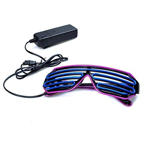 Elibeauty EL Glasses, El Wire Fashion Neon LED Sunglasses Light Up Shutter Shaped Glow SunGlasses Rave Costume Party DJ Bright SunGlasses Color Random
