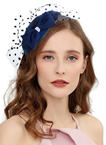 Cizoe Fascinator Hair Clip Pillbox Hat Bowler Feather Flower Veil Wedding Party Hat Tea Hat(6-navy)]()