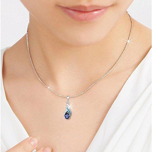 Sinlifu Charming Teardrop Sapphire Opal Topaz CZ Silver Plated Pendant Necklace Chain 18'' (Silver Sets: Blue Opal+Sapphire) by Sinlifu (Image #2)