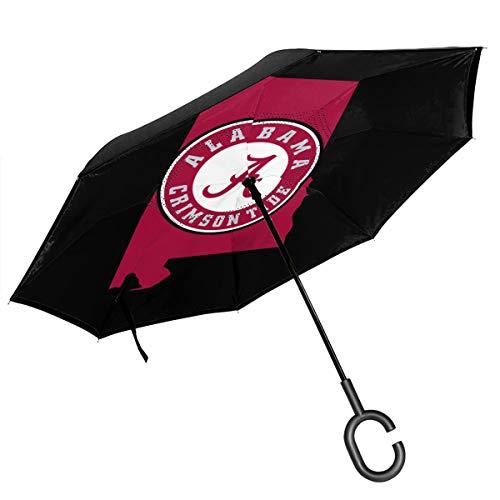 Alabama Logo Double Layer Inverted Umbrellas Reverse Folding Umbrella Windproof Umbrella for Car Rain Outdoor with C-Shaped Handle