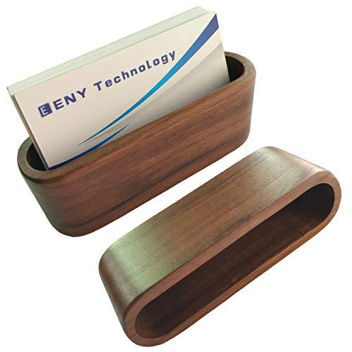 2 Pack Business Card Display Holder, Brown Walnut Wood Card Case for desk desktop, wooden Name Card Stand for Office, Name Card Holder for Tables Organizer index card filing by Topspeeder