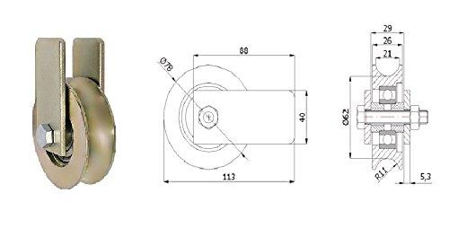 """Zabi Fahrbahnrollen metallrollen f/ür das Rohr d = 79 mm 1//2/"""" mit Geh/äuse Transportrollen"""