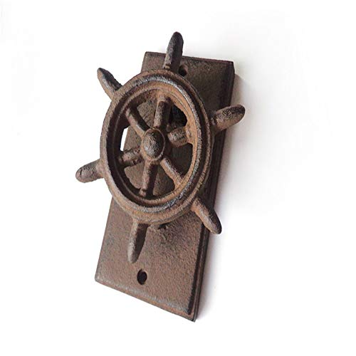 Drawer Knob Pull Handle Antique Style Ship Steering Wheel Cast Iron Decorative Door Knocker, Vintage Rustic Raw Iron Door Knocker Handle For Country Cottage Patio Courtyard Townhouse Manor Modern - Door Cast Arched Iron