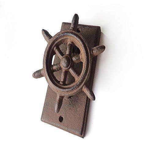 Drawer Knob Pull Handle Antique Style Ship Steering Wheel Cast Iron Decorative Door Knocker, Vintage Rustic Raw Iron Door Knocker Handle For Country Cottage Patio Courtyard Townhouse Manor Modern Diam