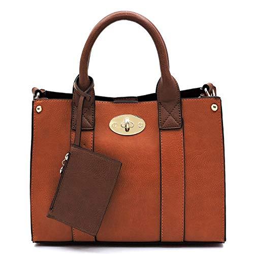 Vegan faux leather Mini handbag + Crossbody purse + Flat pouch 3 pcs set (Tan)