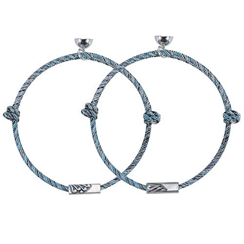925 Sterling Silver Couple Bracelets Mutual Attraction Rope with Love Magnetic Charm Pendant Women Men Distance Cuff Bangle Vows of Eternal Braided Xmas Birthday Gifts (A Design- [S925 pendant])