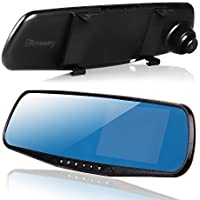 ihreesy Dual Lens, Night Vision Car Camera with G-sensor, Full HD 1080P Large Rear View Mirror, 4.3 Display Screen