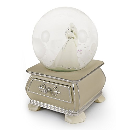 Incredible Wedding Couple Snow Dome with French Country Style Commode Base - How Great Thou Art by MusicBoxAttic