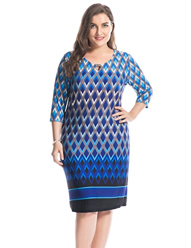 Chicwe Women's Plus Size Printed Keyhole Neck Dress with Metal Trim Border - Knee Length Casual and Work Dress 24
