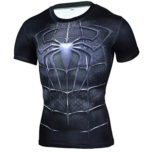 Mens Dri-fit Spiderman Compression Shirts Short Sleeve Costume Shirt S -