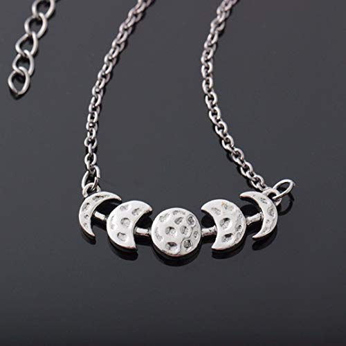 Aranher(TM) Vintage Womens Silver Lunar Eclipse Moon Phase Chain Pendant Necklace Jewelry