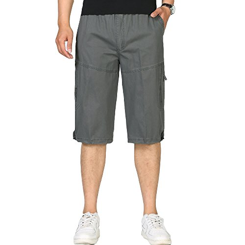 VMANNER Mens Cargo Capri Shorts Relaxed Fit Drawstring Twill Cotton Cargo Shorts with Elastic Waist Work Shorts (Shorts Capri Drawstring)