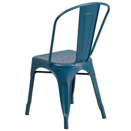 Flash Furniture Distressed Kelly Metal Indoor Stackable Chair, Blue (Flash Furniture Chairs)