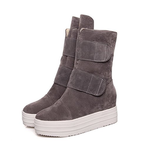 Loop High top Women's Heels Gray Frosted Hook Allhqfashion Boots Solid and Low Xx6zwqz5T