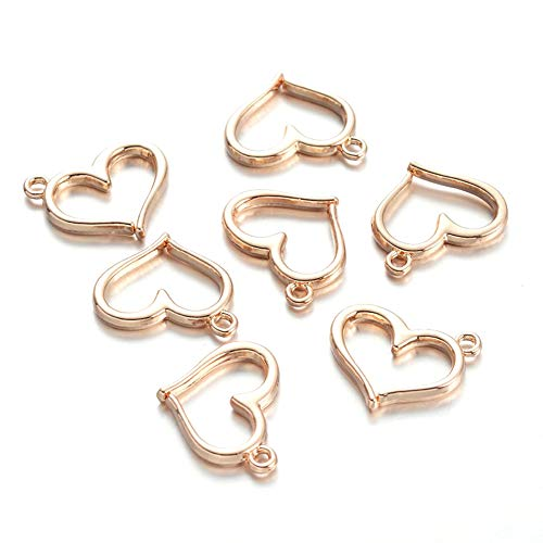 Kissitty 25pcs Light Gold Heart Charms Open Heart Floating Pendants for Bracelets Necklace Making Valentines Gifts ()