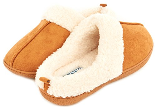 Floopi Womens Indoor Outdoor Foderato In Pelliccia Pantofola W / Memory Foam Castagno-301
