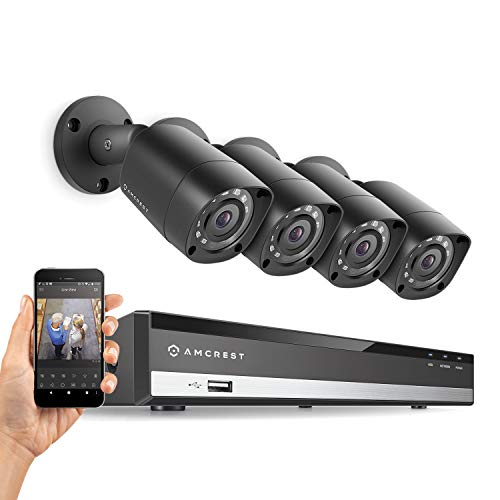 Amcrest HD 1080-Lite 4CH Video Security Camera System -Four 1280x720P IP67 Outdoor Cameras, 65ft Night Vision, Hard Drive Not Included, Supports AHD, CVI, TVI, 960H & IP Cameras (AMDVTENL4-4B-B)