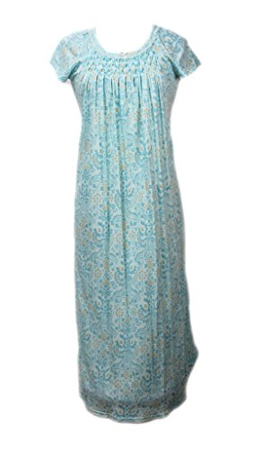 Print Short Sleeve Long Gown Nightgown XL (Miss Elaine Long Gown)