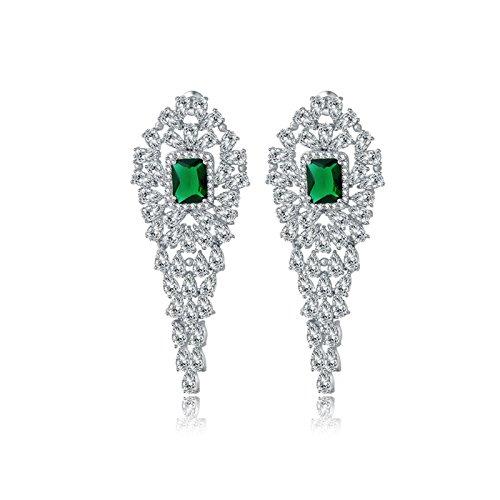 Gnzoe White Gold Plated Women Drop Earrings Green AAA Cubic Zirconia Square Oval Shap Dangling 59.8x24MM