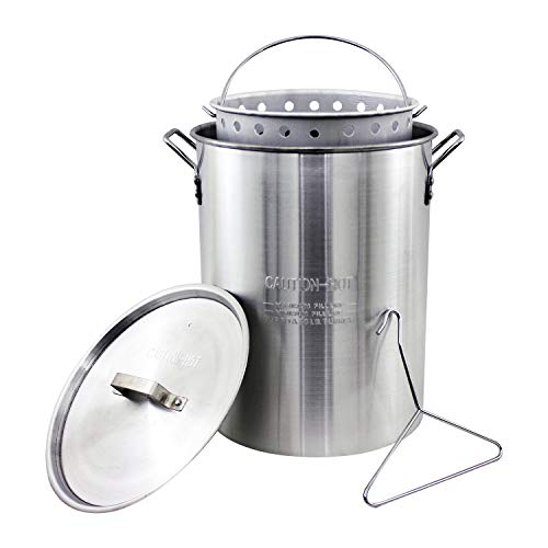 - Chard ASP30, Aluminum Stock Pot and Perforated Strainer Basket with Safety Hanger, 30 quart (Renewed)