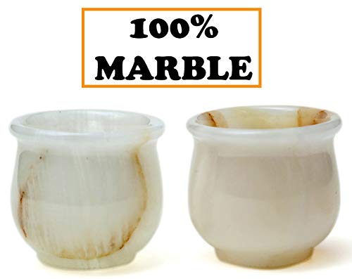 Shot Glasses Sake Cups Fancy Handmade Marble Tequila Shot Glass - Sake Cup Shots - Vodka Antique Cut Modern Marble Stone - Aperitif Cheap Bar Glass for Home kitchen Decorative small vodka glass White