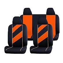 uxcell® 8 Piece x Unique Auto Car Seat Cover Headrests Full set Orange Black Fit For Truck SUV